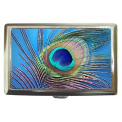 Peacock Feather Blue Green Bright Cigarette Money Cases by Amaryn4rt