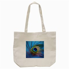 Peacock Feather Blue Green Bright Tote Bag (cream) by Amaryn4rt
