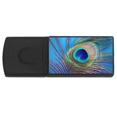 Peacock Feather Blue Green Bright Usb Flash Drive Rectangular (4 Gb) by Amaryn4rt