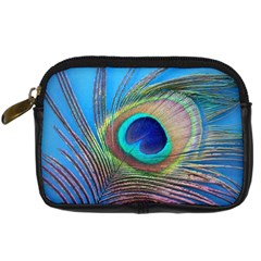 Peacock Feather Blue Green Bright Digital Camera Cases by Amaryn4rt