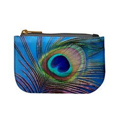 Peacock Feather Blue Green Bright Mini Coin Purses