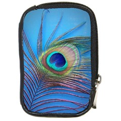 Peacock Feather Blue Green Bright Compact Camera Cases by Amaryn4rt