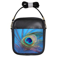 Peacock Feather Blue Green Bright Girls Sling Bags by Amaryn4rt