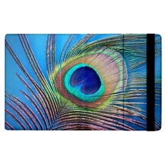 Peacock Feather Blue Green Bright Apple Ipad 2 Flip Case by Amaryn4rt