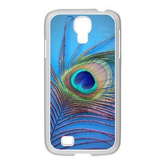 Peacock Feather Blue Green Bright Samsung Galaxy S4 I9500/ I9505 Case (white)