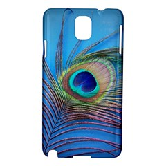 Peacock Feather Blue Green Bright Samsung Galaxy Note 3 N9005 Hardshell Case by Amaryn4rt