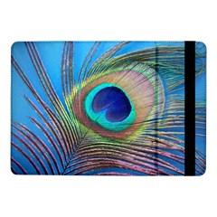 Peacock Feather Blue Green Bright Samsung Galaxy Tab Pro 10 1  Flip Case by Amaryn4rt