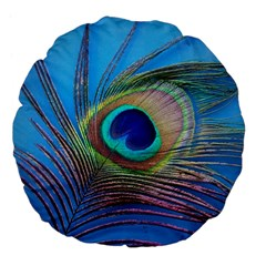 Peacock Feather Blue Green Bright Large 18  Premium Flano Round Cushions by Amaryn4rt