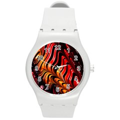 Abstract Fractal Mathematics Abstract Round Plastic Sport Watch (m) by Amaryn4rt