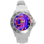 Background Blue Red Round Plastic Sport Watch (L) Front