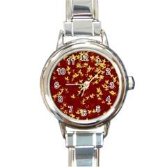 Background Design Leaves Pattern Round Italian Charm Watch by Amaryn4rt