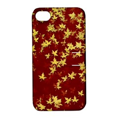 Background Design Leaves Pattern Apple Iphone 4/4s Hardshell Case With Stand by Amaryn4rt