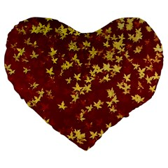 Background Design Leaves Pattern Large 19  Premium Flano Heart Shape Cushions by Amaryn4rt