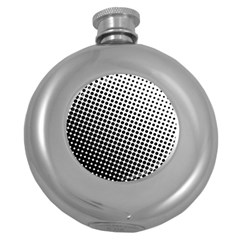 Background Wallpaper Texture Lines Dot Dots Black White Round Hip Flask (5 Oz) by Amaryn4rt