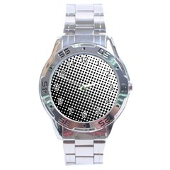 Background Wallpaper Texture Lines Dot Dots Black White Stainless Steel Analogue Watch by Amaryn4rt