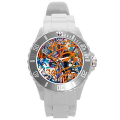 Background Graffiti Grunge Round Plastic Sport Watch (l) by Amaryn4rt