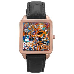 Background Graffiti Grunge Rose Gold Leather Watch
