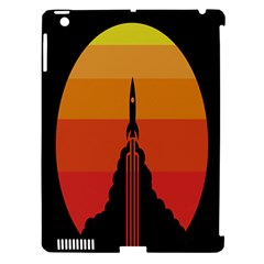 Plane Rocket Fly Yellow Orange Space Galaxy Apple Ipad 3/4 Hardshell Case (compatible With Smart Cover)