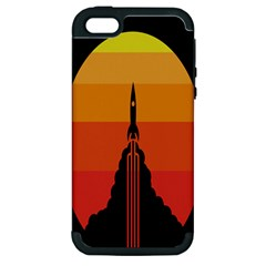 Plane Rocket Fly Yellow Orange Space Galaxy Apple Iphone 5 Hardshell Case (pc+silicone)