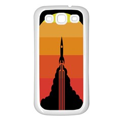 Plane Rocket Fly Yellow Orange Space Galaxy Samsung Galaxy S3 Back Case (white)