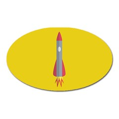 Plane Rocket Space Yellow Oval Magnet