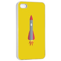 Plane Rocket Space Yellow Apple Iphone 4/4s Seamless Case (white)