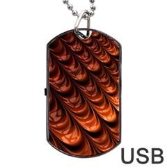 Brown Fractal Mathematics Frax Dog Tag USB Flash (Two Sides) by Amaryn4rt
