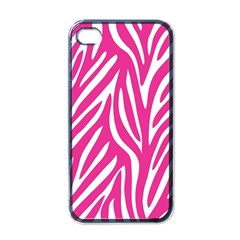 Zebra Skin Pink Apple Iphone 4 Case (black) by Alisyart