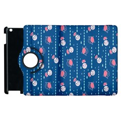 Pig Pork Blue Water Rain Pink King Princes Quin Apple Ipad 3/4 Flip 360 Case by Alisyart