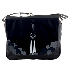 Plane Rocket Grey Messenger Bags