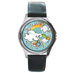 Rainbow Clouds Tree Circle Orange Round Metal Watch by Alisyart