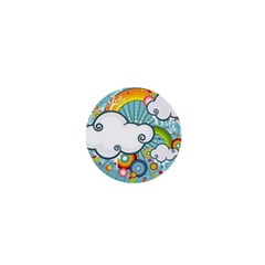 Rainbow Clouds Tree Circle Orange 1  Mini Buttons by Alisyart