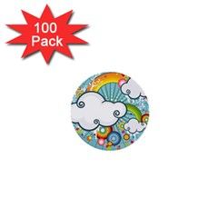 Rainbow Clouds Tree Circle Orange 1  Mini Buttons (100 Pack)  by Alisyart