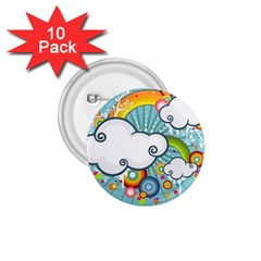 Rainbow Clouds Tree Circle Orange 1 75  Buttons (10 Pack) by Alisyart
