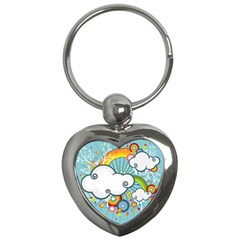 Rainbow Clouds Tree Circle Orange Key Chains (heart)  by Alisyart