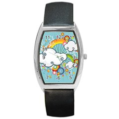Rainbow Clouds Tree Circle Orange Barrel Style Metal Watch by Alisyart