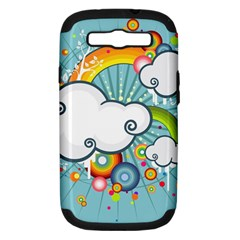 Rainbow Clouds Tree Circle Orange Samsung Galaxy S Iii Hardshell Case (pc+silicone) by Alisyart