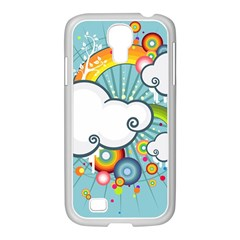 Rainbow Clouds Tree Circle Orange Samsung Galaxy S4 I9500/ I9505 Case (white) by Alisyart