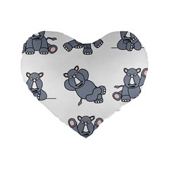 Rhinoceros Animal Rhino Standard 16  Premium Heart Shape Cushions