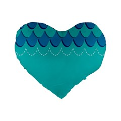 Sea Wave Blue Water Beach Standard 16  Premium Heart Shape Cushions