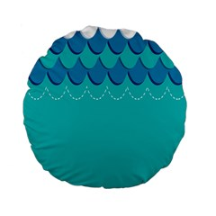 Sea Wave Blue Water Beach Standard 15  Premium Flano Round Cushions by Alisyart