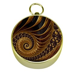 Fractal Spiral Endless Mathematics Gold Compasses by Amaryn4rt