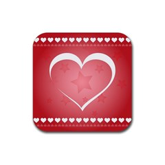 Postcard Banner Heart Holiday Love Rubber Coaster (square)  by Amaryn4rt