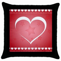 Postcard Banner Heart Holiday Love Throw Pillow Case (black) by Amaryn4rt