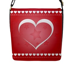 Postcard Banner Heart Holiday Love Flap Messenger Bag (l)  by Amaryn4rt