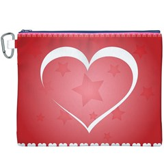 Postcard Banner Heart Holiday Love Canvas Cosmetic Bag (xxxl) by Amaryn4rt