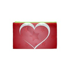 Postcard Banner Heart Holiday Love Cosmetic Bag (xs)