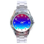 Gradient Red Blue Landfill Stainless Steel Analogue Watch Front