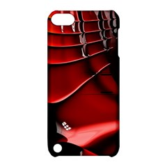 Red Black Fractal Mathematics Abstract Apple Ipod Touch 5 Hardshell Case With Stand by Amaryn4rt