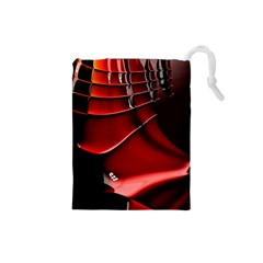 Red Black Fractal Mathematics Abstract Drawstring Pouches (small)  by Amaryn4rt